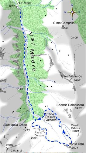 mappa di Monte Toro 2524 m