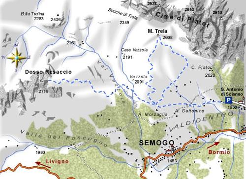 mappa di Monte Trela 2608 m. e Dosso Resaccio 2719 m.