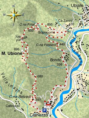 mappa di Sul Monte Ubione a cavallo fra Valle Imagna e Valle Brembana