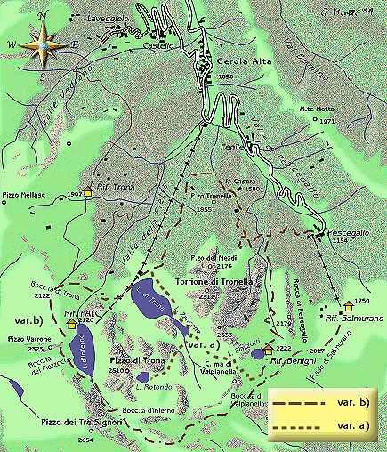 mappa di Val Gerola: il giro dei laghi