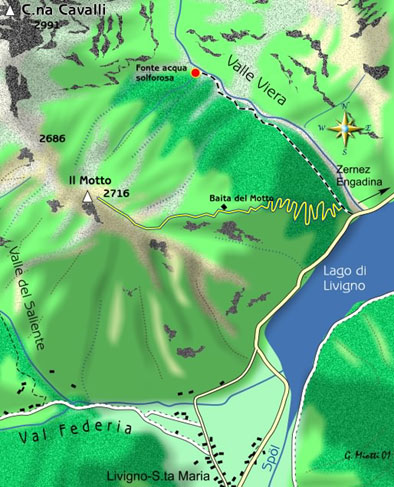 mappa di Due gite nella Valle di Livigno