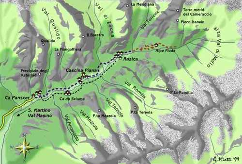 mappa di Val Mello, gioiello delle Alpi