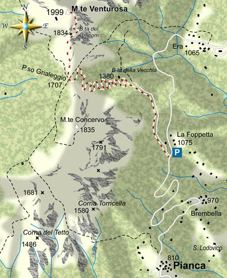 mappa di Il Monte Venturosa 1999 m e il paese d'Arlecchino