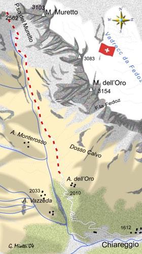 mappa di Il Passo del Muretto: passaggio fra Val Malenco e Engadina