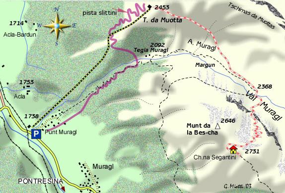 mappa di La funicolare di Muottas Muragl, balcone sull'Engadina