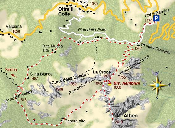 mappa di L'anello del Monte Alben 2019 m