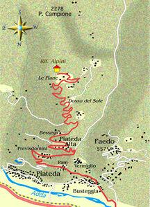 mappa itinerario ciclistico Sondrio - Le Poiane