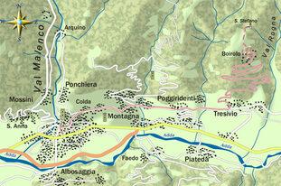mappa itinerario ciclistico Sondrio - Boirolo (in rosso)