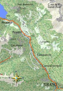 mappa itinerario ciclistico San Romerio