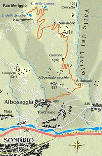 mappa itinerario ciclistico Lago della Casera