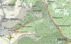 mappa itinerario ciclistico Prato Maslino